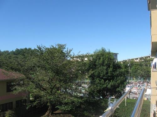 真っ青な空の下 裏の幼稚園の運動会♪.jpg